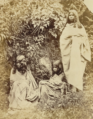 Group of three Toda women, from southern India, c. 1870.