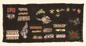 Embroidery sampler from Lucknow, India (TRC 2018.2580).