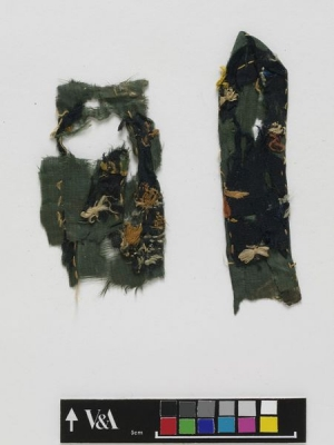 Embroidered silk fragments of what may have been a Buddhist streamer, 9th century, recovered from Dunhuang, China.
