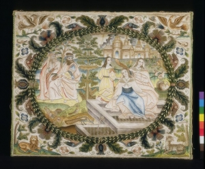 Embroidered picture 'Susannah and the Elders', England, c. 1660.