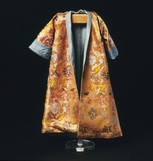 Satin doll's undress gown, England, late seventeenth century.