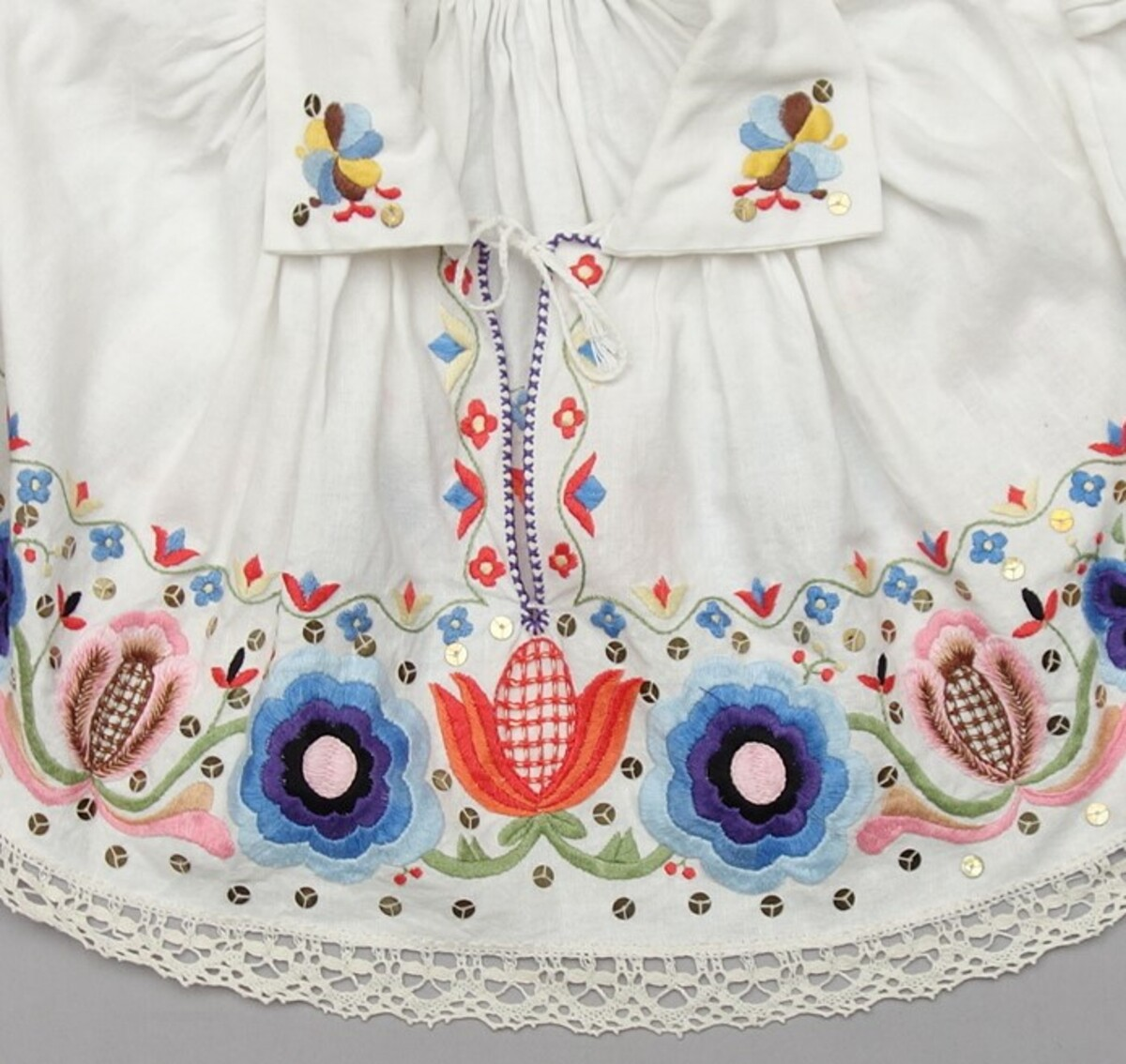Detail of an embroidered blouse from the Kadrina parish, northern Estonia, early 21st century (TRC 2020.0010).