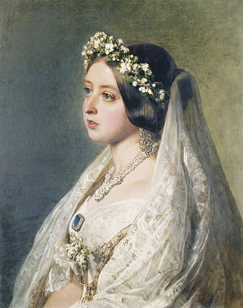 Portrait of Queen Victoria wearing her wedding dress, head wreath and veil made of Honiton lace, painted by Franz Xaver Winterhalter, 1847. RCIN 400885.