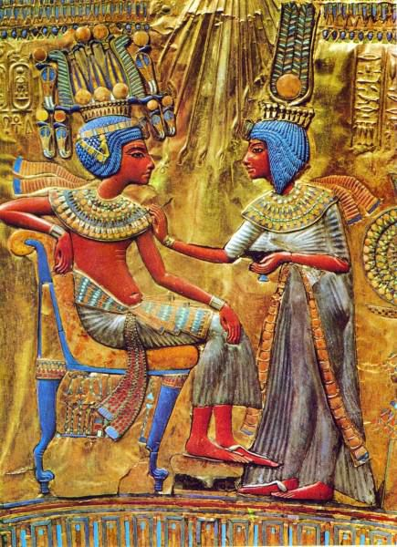 Inlaid box depicting the pharaoh and his wife. From the tomb of Tutankhamin.