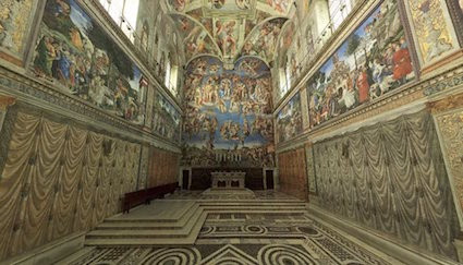 Curtains Ideas curtain paintings : The curtains of the Sistine chapel in Rome