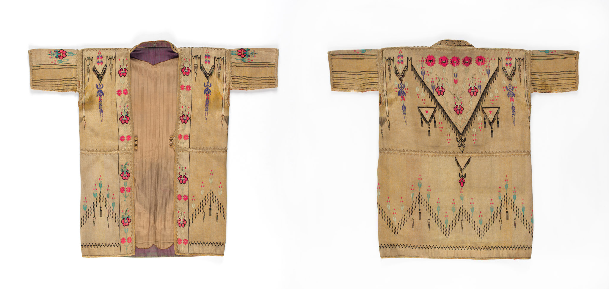 Woman's jacket from Syria, late 19th - early 20th cent., front and back (Fowler Museum at UCLA X2018.20.3).