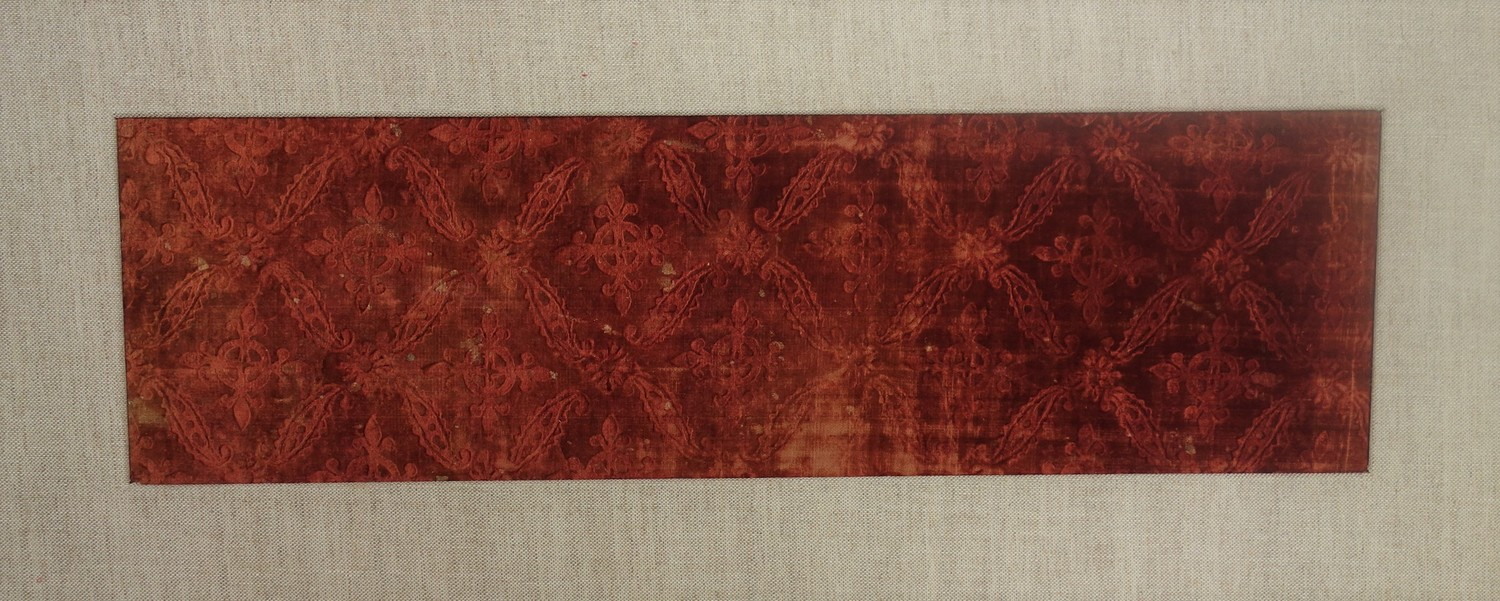 Sample of silk pressed/embossed velvet, Spain, c. 1600, dyed with madder (TRC 2011.0367).