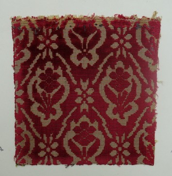 Sample of silk, voided velvet, 17th century (TRC 2011.0379).