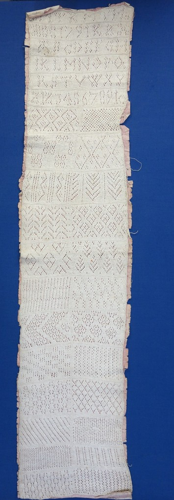 Knitting sampler dated AD 1791, TRC 2016.2261