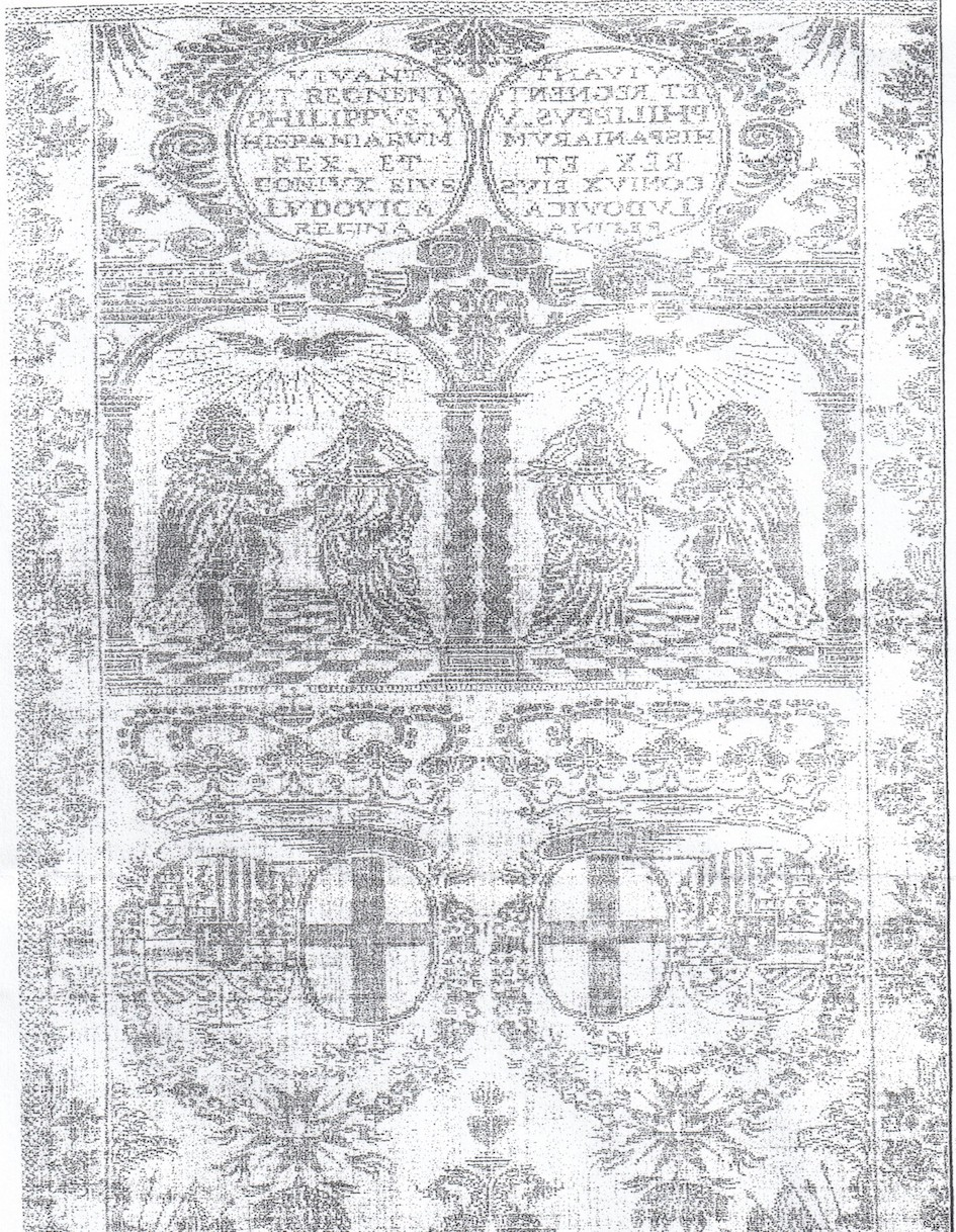 The text and designs on the damask serviette woven for the wedding of Philip V of Spain and his wife, Queen Maria Luisa of Savoy, in 1701.