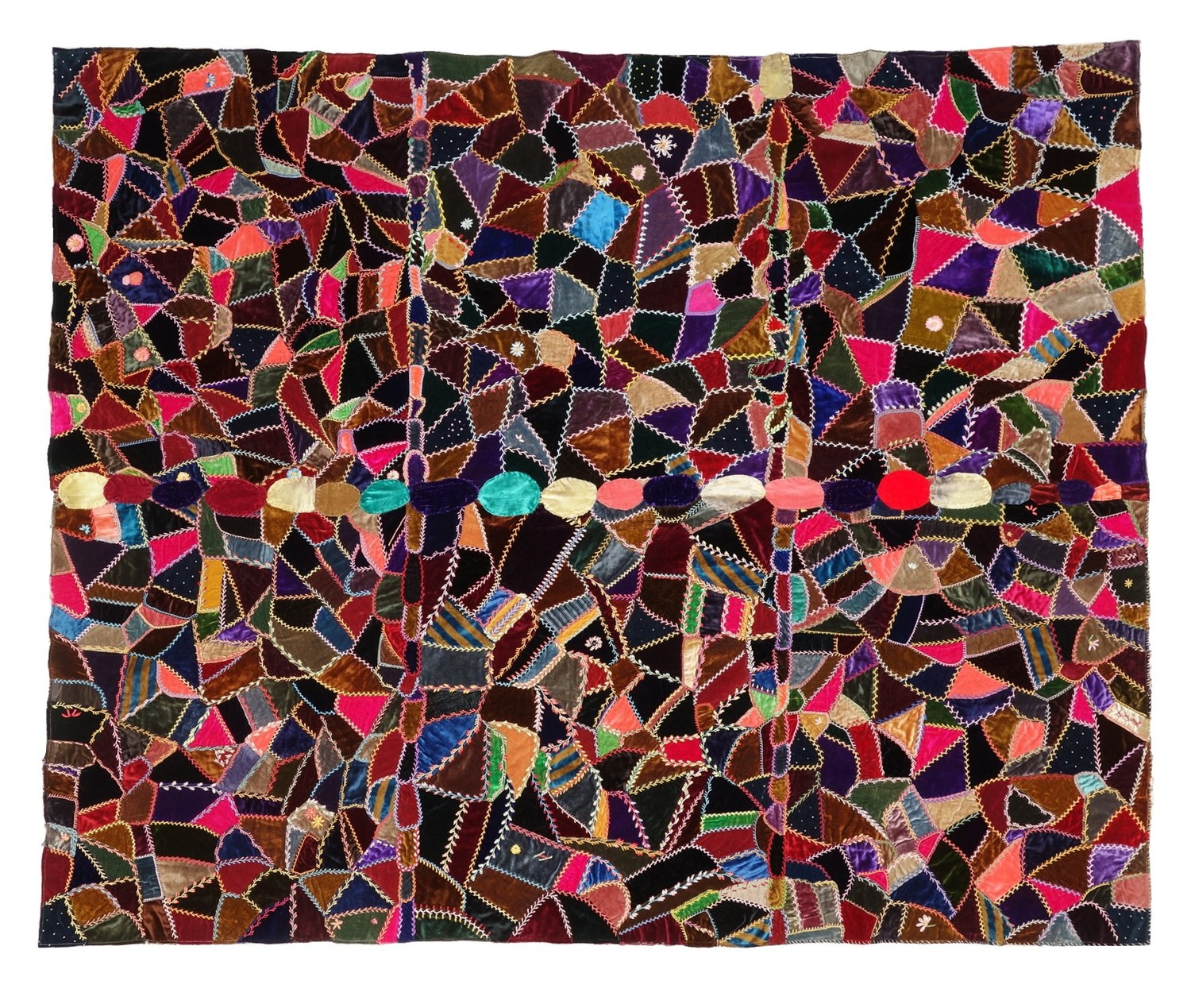No. 46. Part of a velvet 'crazy quilt' made from various types of velvet (1890's, USA; TRC 2018.2407).