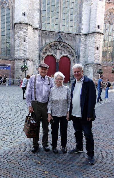Sherry and Darwin Cook, with Willem Vogelsang in Leiden, 13th October 2018