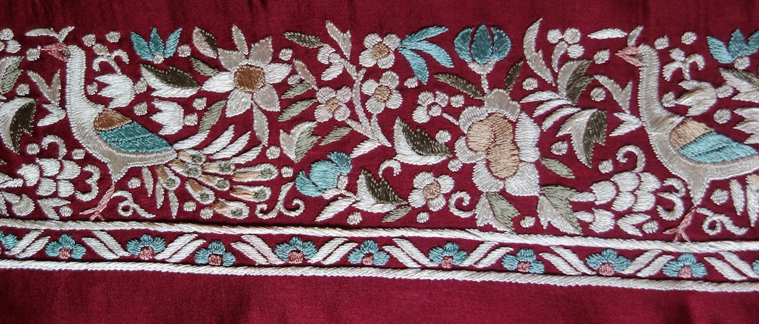 Detail of a Chinese-style Parsi embroidery from India, made in 2017 for the TRC.