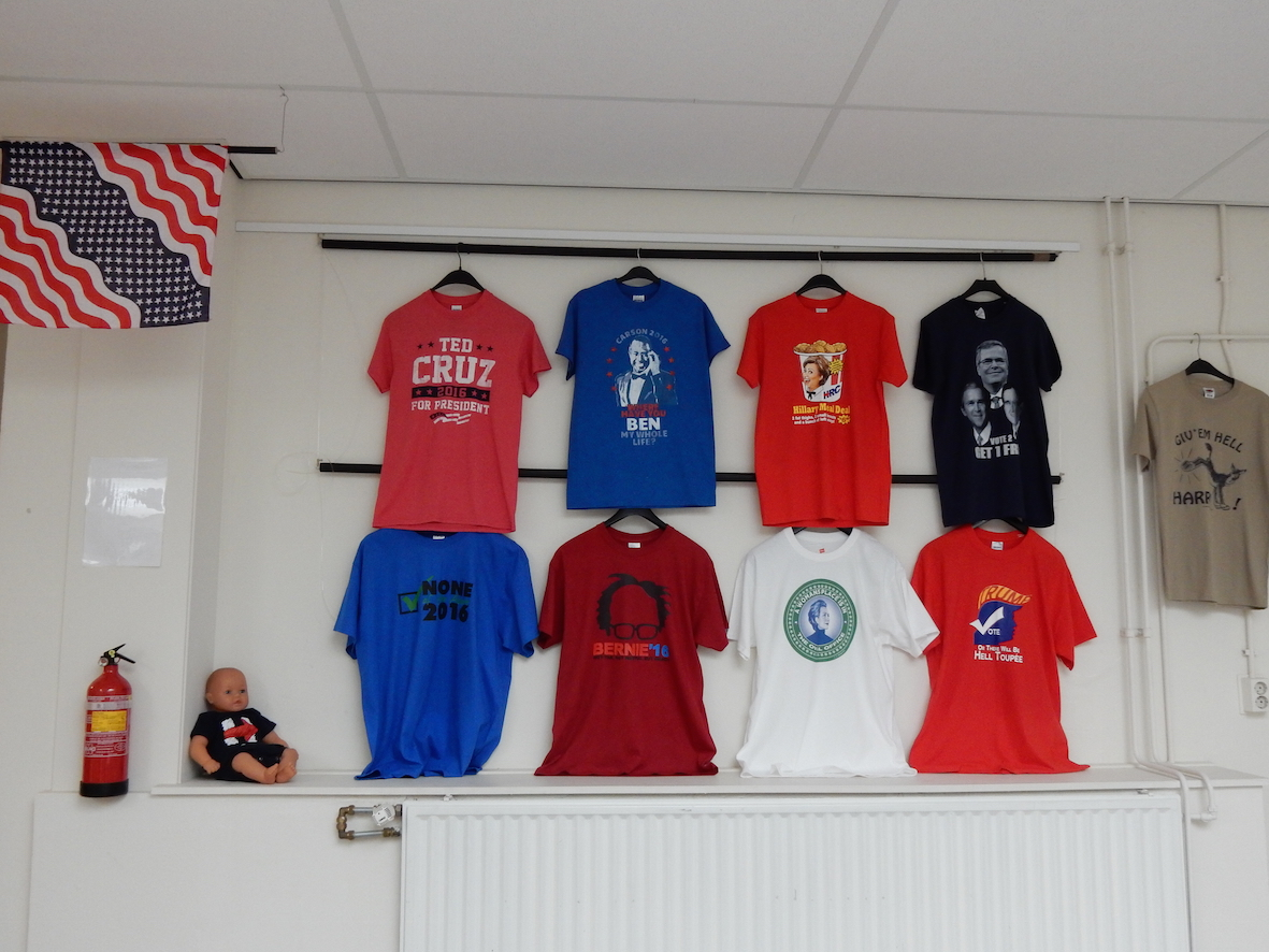 Small display of T-shirts with political slogans for US presidential elections. October/November 2016, TRC, Leiden.