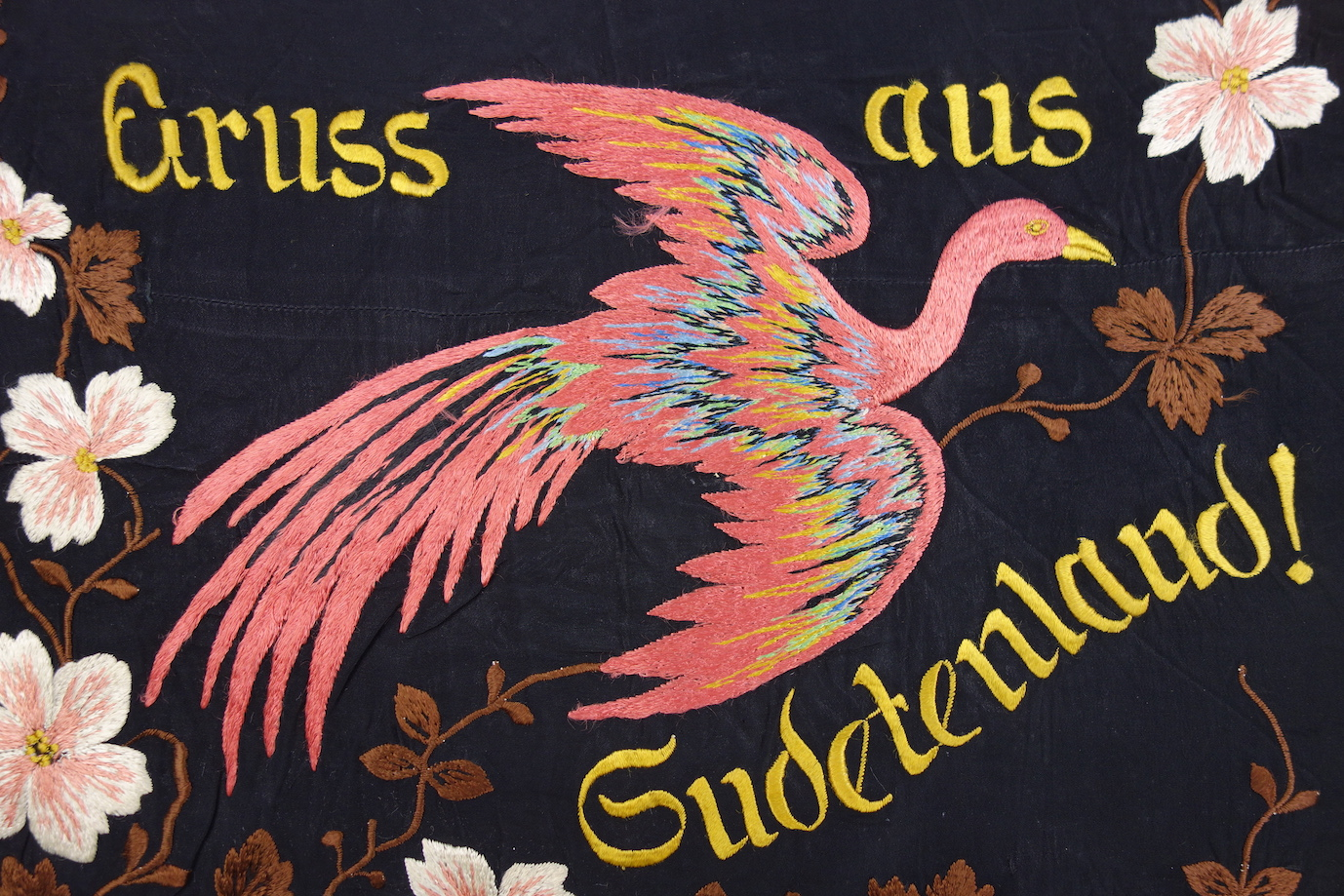 Machine embroidered memento of the German annexation of Gudetenland. TRC 2017.0423