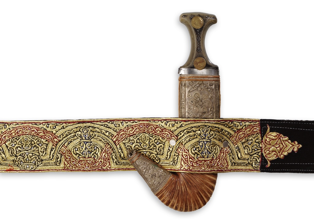Yemeni dagger sheath and gold embroidered belt. TRC Collection