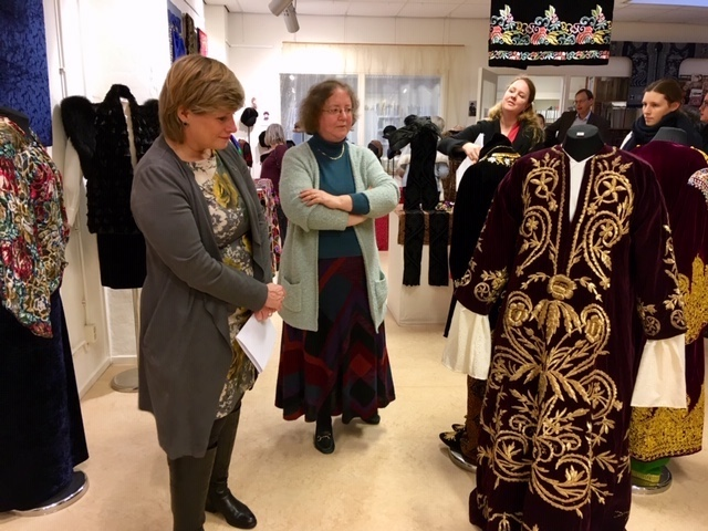 Leiden council Alderman Ms Yvonne van Delft (left) and Dr Gillian Vogelsang (right) at the opening of the Velvet! exhibition, TRC, 22 January 2019.