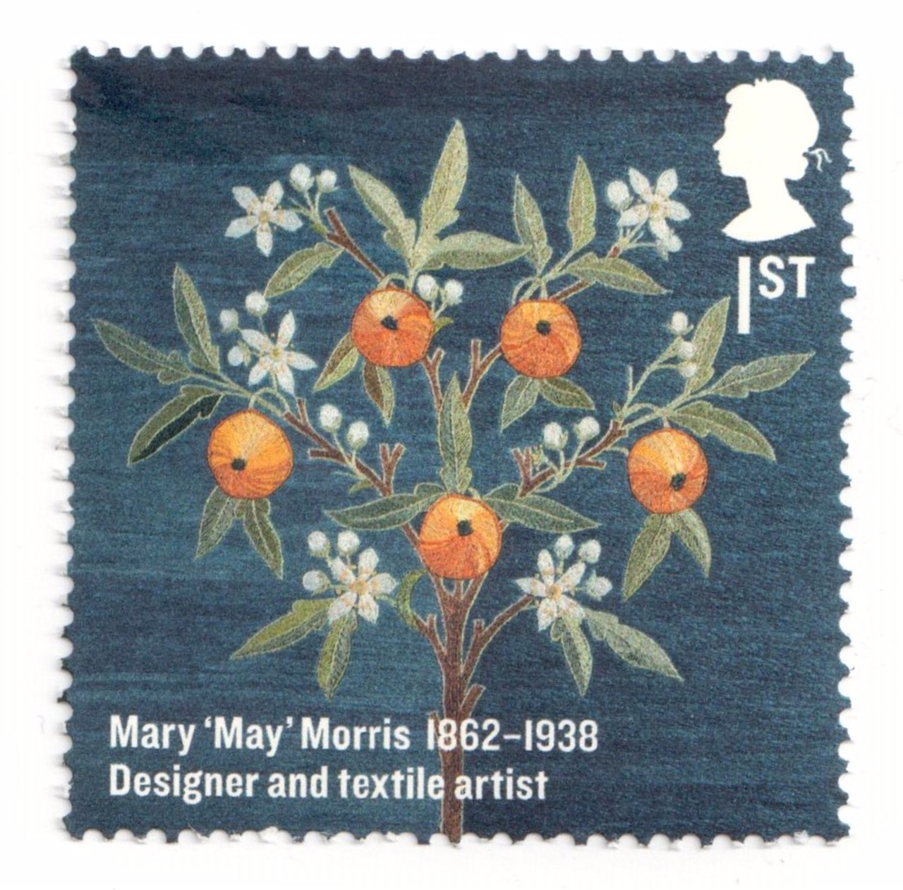 British postage stamp with embroidery motif of oranges and orange blossom, designed and worked by May Morris (TRC 2018.3365).