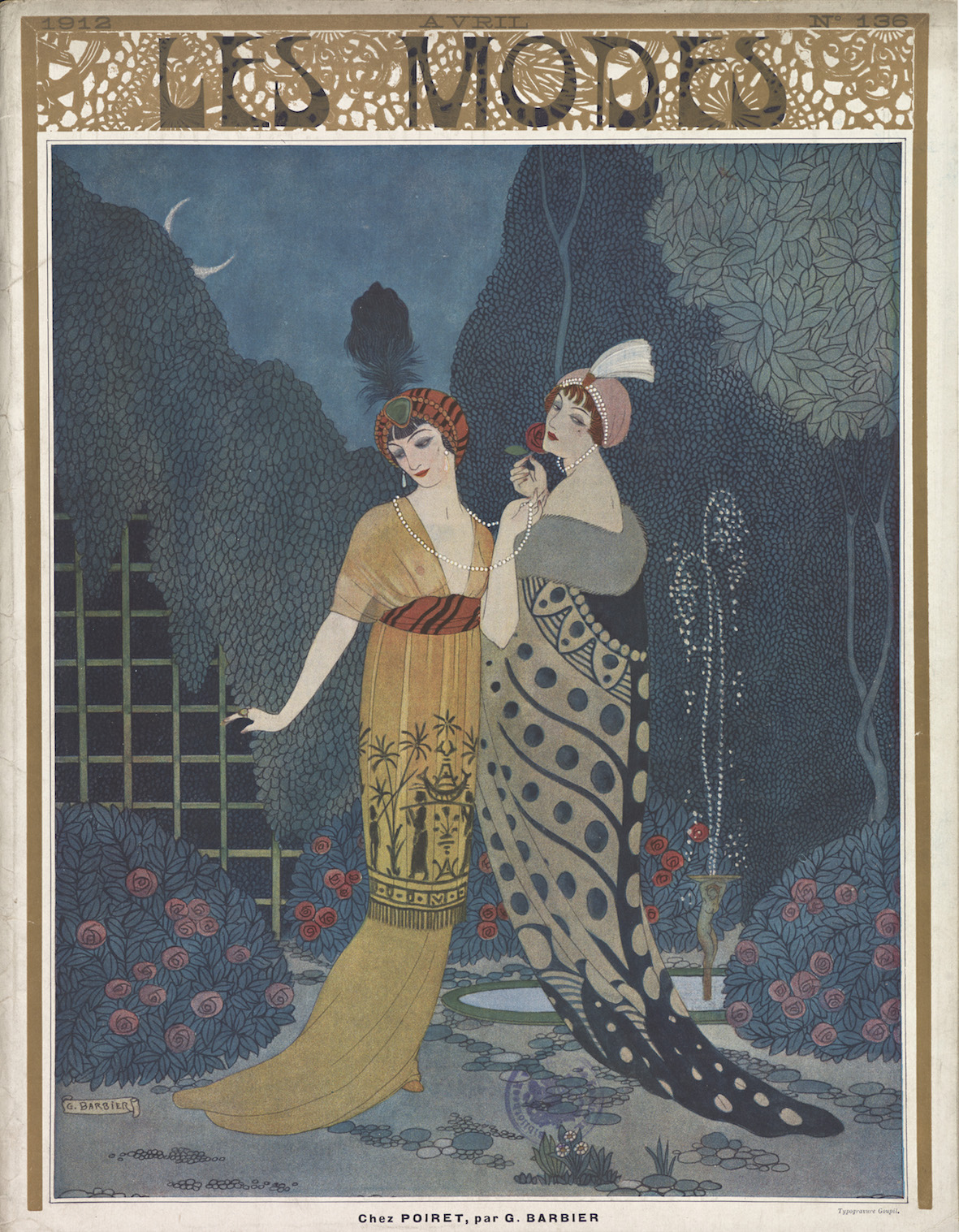 'Chez Poiret', cover of Les Modes, with designs by Paul Poiret, drawn by Georges Barbier, April 1912. Gemeentemuseum Den Haag