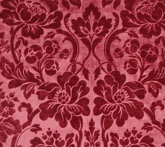 Modern silk, pressed velvet from Italy, with a classic, Renaissance-style motif (TRC 2018.2510).