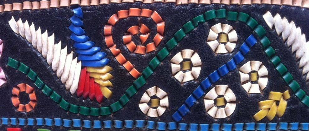 Close-up of leather-embroidered traditional Romanian belt. TRC collection.