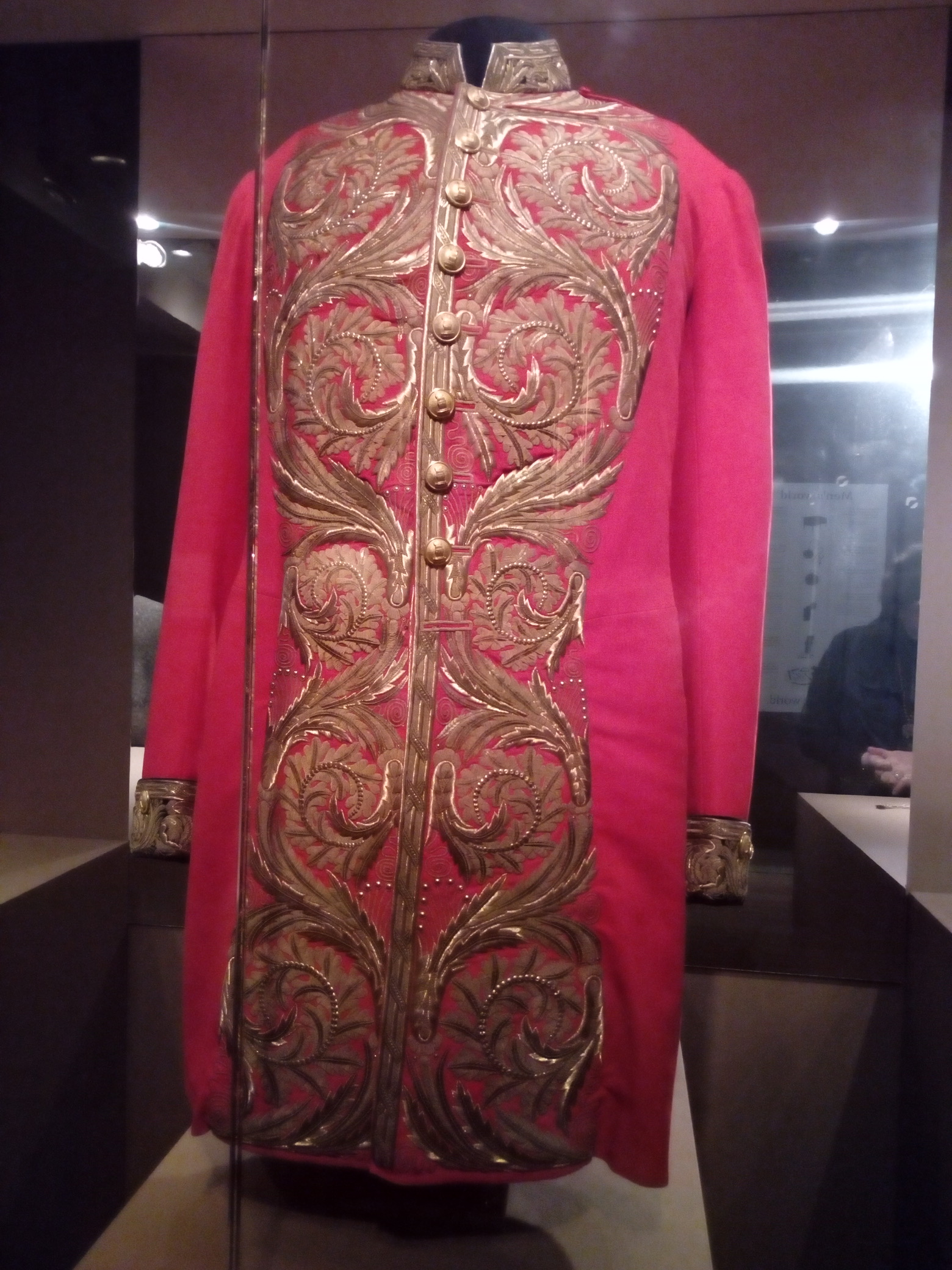Parade uniform of a Russian senator, velvet and silk. The gold thread embroidery and buttons were considered a sign that the Emperor respected the senator's status. Late 19th-early 20th century.
