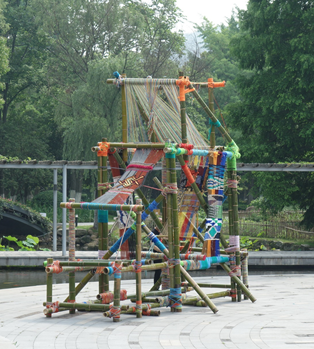 Installation of a bamboo loom. National Silk Museum, Hangzhou. Photograph: Gillian Vogelsang-Eastwood.
