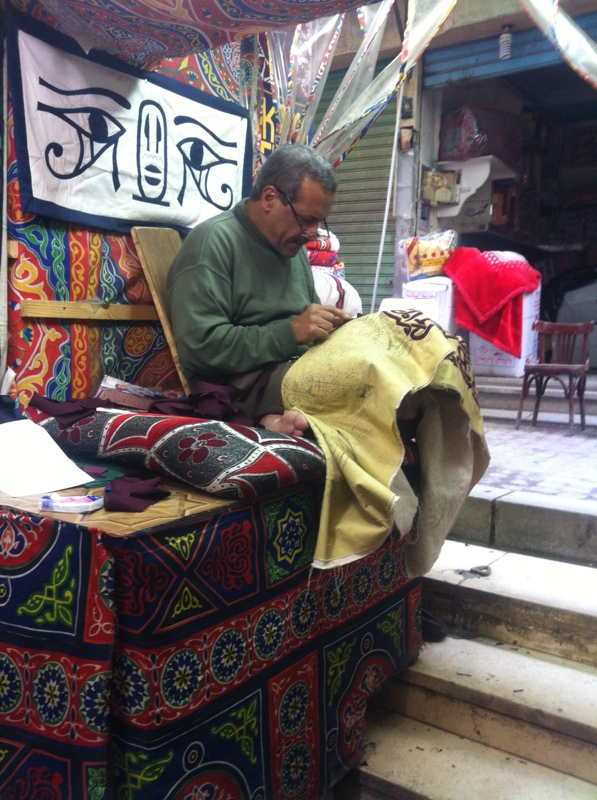 Man working on an appliqué panel, Street of the Tentmakers, Cairo, Egypt. Photograph: Gillian Vogelsang-Eastwood, December 2014.