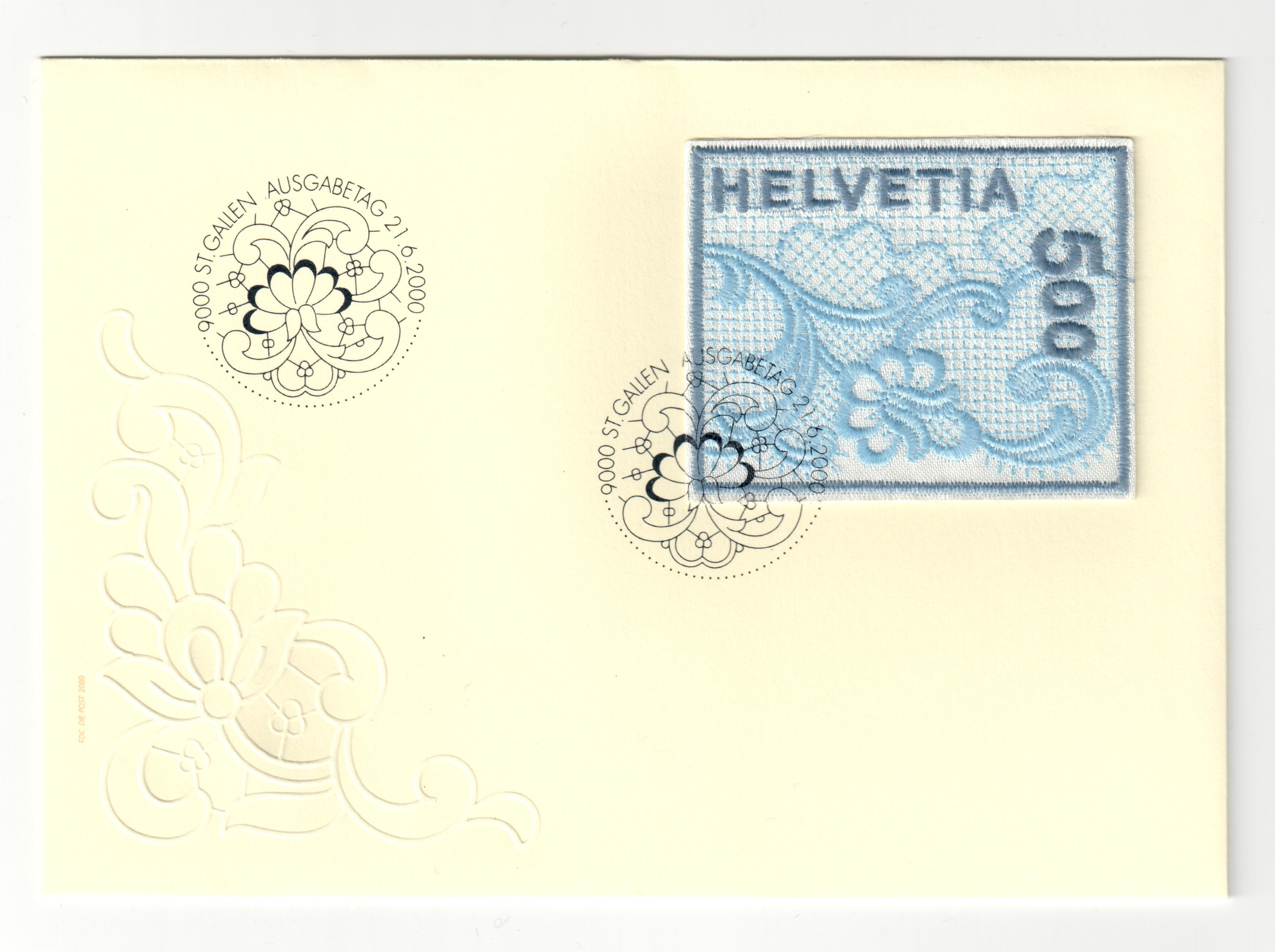 First ever machine embroidered postage stamp, based on St Gallen embroidery. Switzerland 2000.