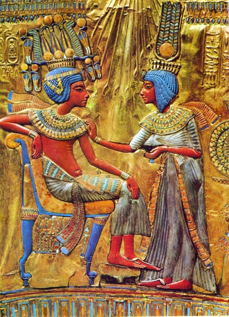 Tutankhamun and his wife. Gold and enamelled panel from the back of one of his thrones.