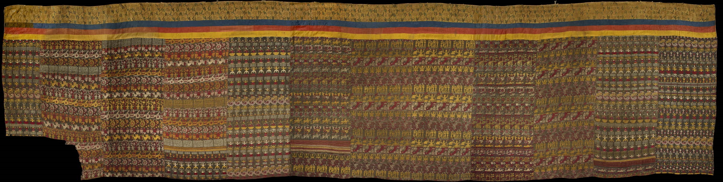 A series of silk, 17th century Vrindavani Vastra textiles, now on display in the British Museum, London.