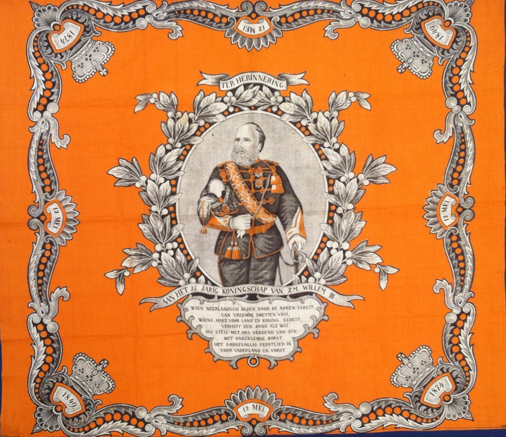 Kerchief celebrating the 25th anniversary of the reign of the Dutch King, Willem III, in 1874.