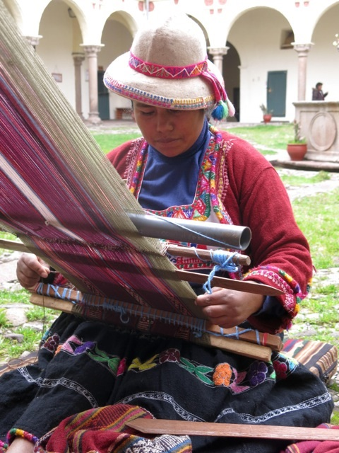 Woman in Lima, Peru, with backstrap loom. Photograph: Jefke van Iterson