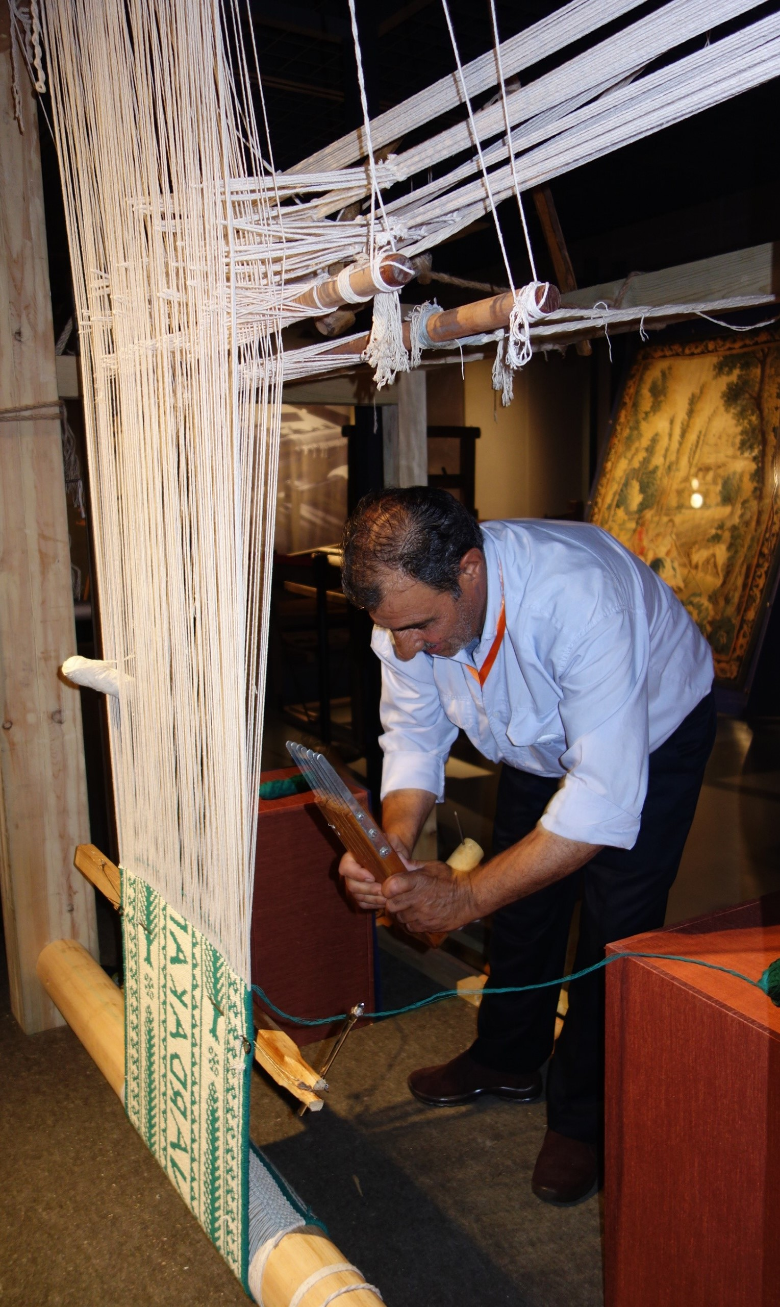 Zilu loom for taqueté floor coverings, Iran. National Silk Museum, Hangzhou, China. Photograph: Gillian Vogelsang-Eastwood.