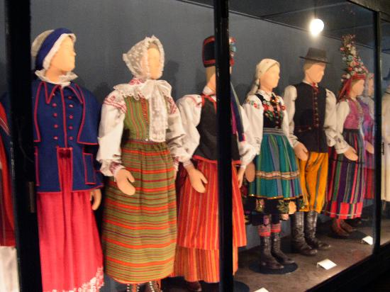 Part of a costume gallery with local clothing. Courtesy Museum of Ethnography, Krakow, Poland.